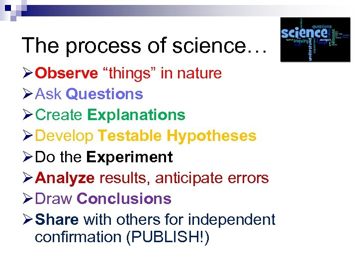"The process of science… Ø Observe ""things"" in nature Ø Ask Questions Ø Create"