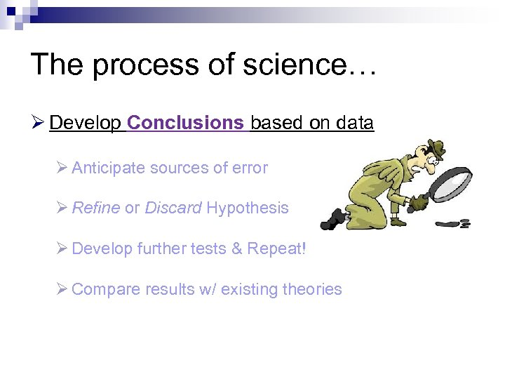 The process of science… Ø Develop Conclusions based on data Ø Anticipate sources of