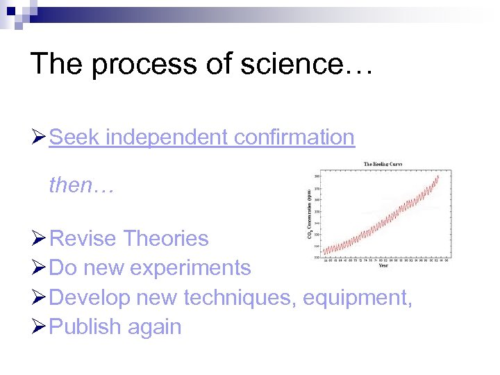 The process of science… Ø Seek independent confirmation then… Ø Revise Theories Ø Do