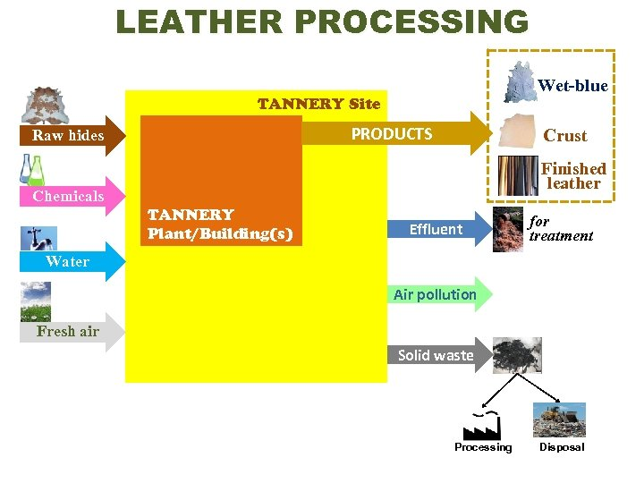 LEATHER PROCESSING Wet-blue TANNERY Site PRODUCTS Raw hides Crust Finished leather Chemicals TANNERY Plant/Building(s)
