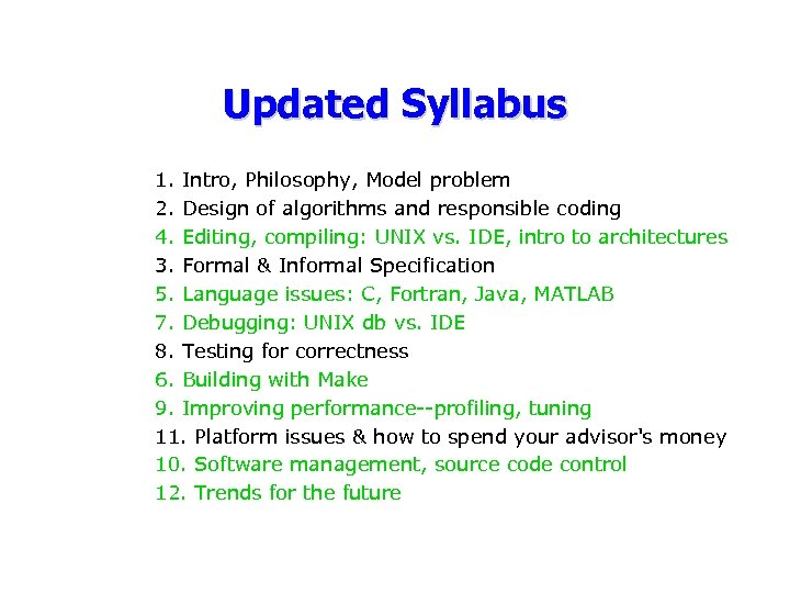 Updated Syllabus 1. Intro, Philosophy, Model problem 2. Design of algorithms and responsible coding