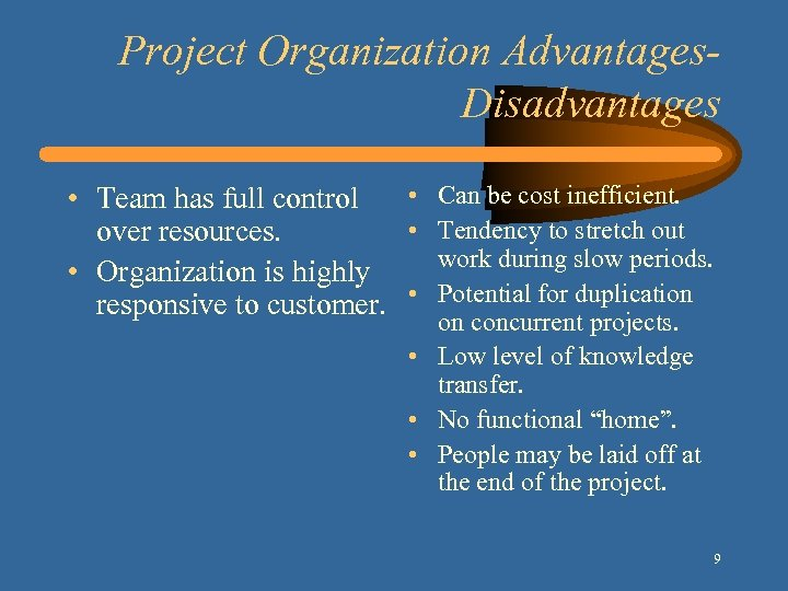 Project Organization Advantages. Disadvantages • Can be cost inefficient. • Team has full control