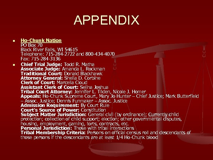 APPENDIX n n Ho-Chunk Nation PO Box 70 Black River Falls, WI 54615 Telephone: