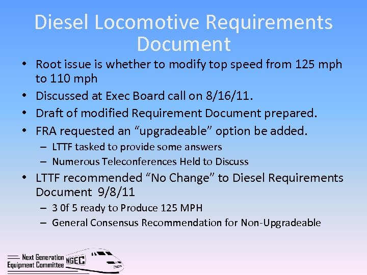 Diesel Locomotive Requirements Document • Root issue is whether to modify top speed from