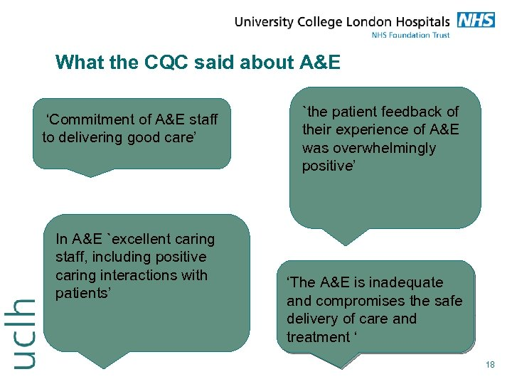 What the CQC said about A&E 'Commitment of A&E staff to delivering good care'