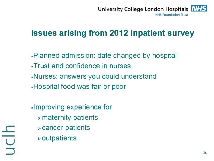 Issues arising from 2012 inpatient survey Planned admission: date changed by hospital Trust and