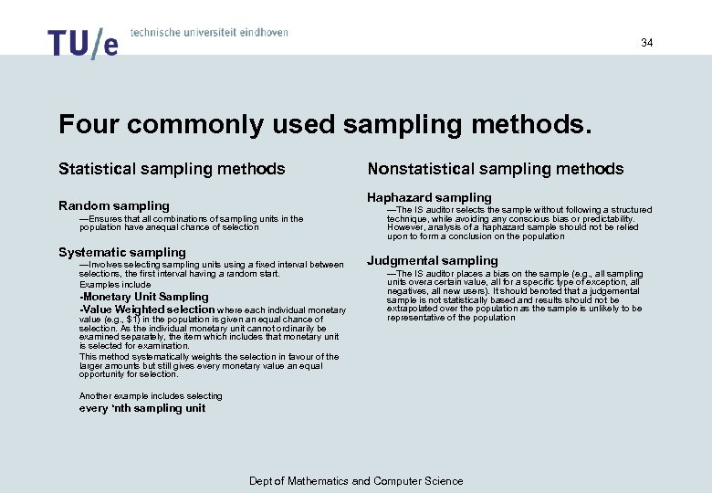 13 27 pps sampling you decide to use statistical sampling to test the reasonableness Auditing final 1 study play  state the objective of audit test decide whether audit sampling applies, define attributes and exception conditions,  liekly to evaluate the unrecorded items in a pop sample size is detemrined using a formula sample selection is done using pps using systematic sampling techniques and misstatement bound.