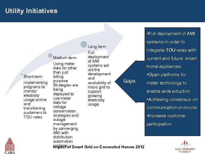 Utility Initiatives • Full deployment of AMI Long term Medium term Short-term Implementing programs