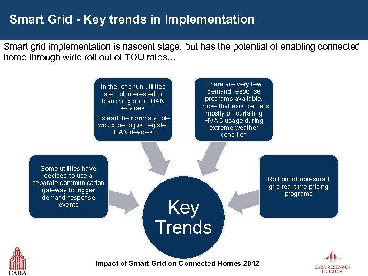 Smart Grid - Key trends in Implementation Smart grid implementation is nascent stage, but