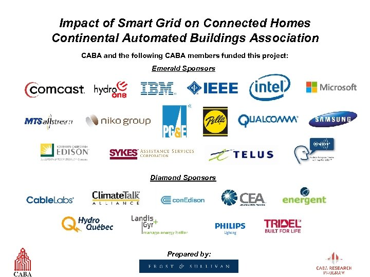 Impact of Smart Grid on Connected Homes Continental Automated Buildings Association CABA and the