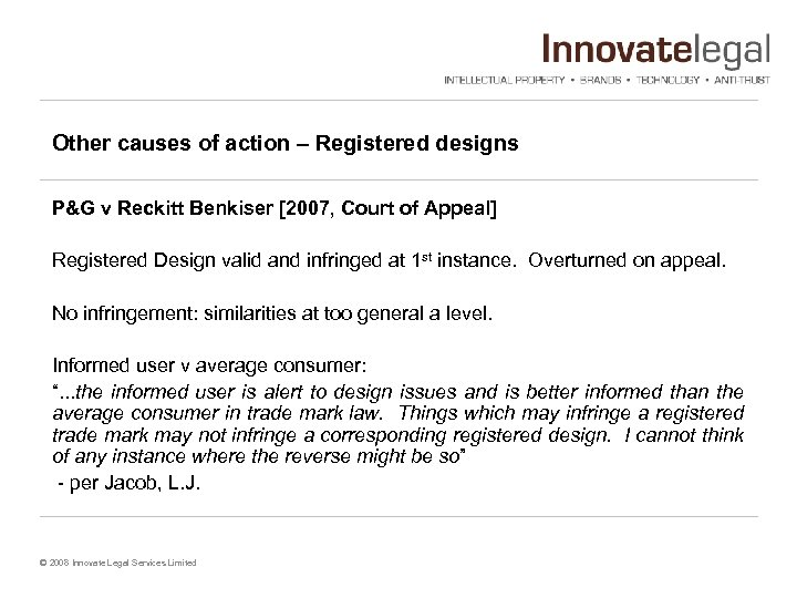 Other causes of action – Registered designs P&G v Reckitt Benkiser [2007, Court of