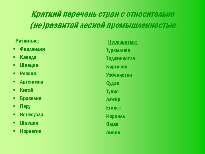 Краткий перечень стран с относительно (не)развитой лесной промышленностью Развитые: • Финляндия • Канада •