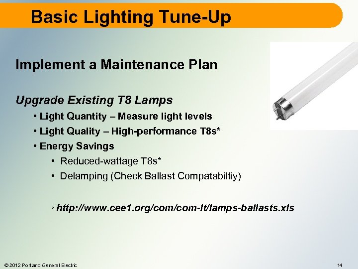 Basic Lighting Tune-Up Implement a Maintenance Plan Upgrade Existing T 8 Lamps • Light