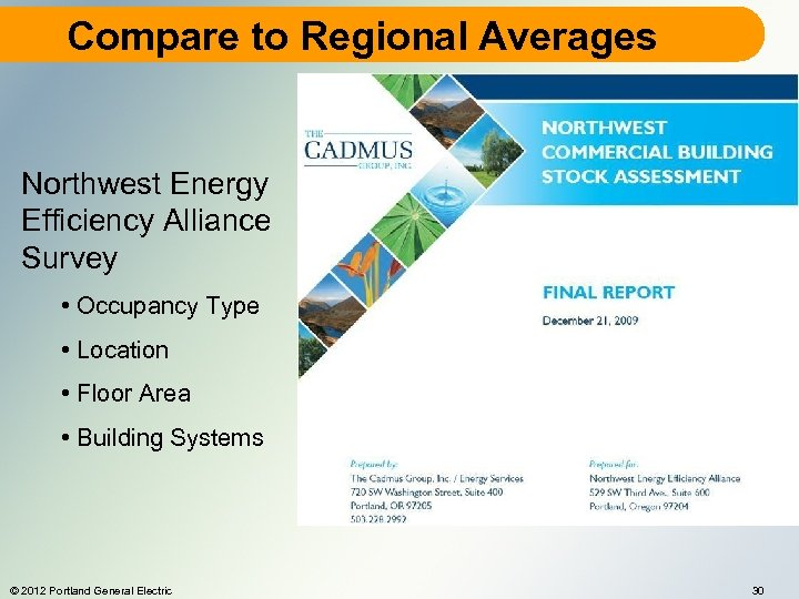 Compare to Regional Averages Northwest Energy Efficiency Alliance Survey • Occupancy Type • Location