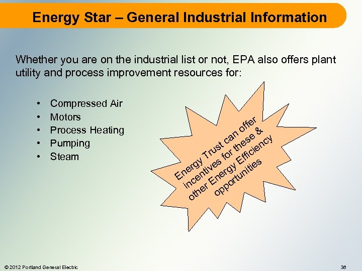 Energy Star – General Industrial Information Whether you are on the industrial list or