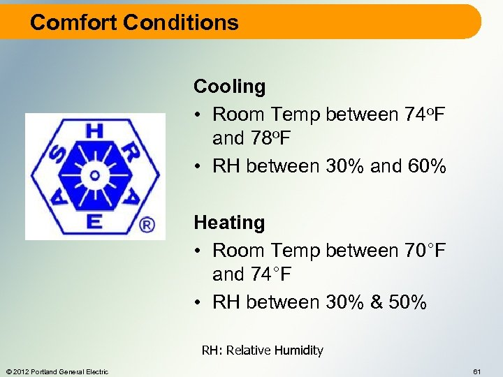 Comfort Conditions Cooling • Room Temp between 74 o. F and 78 o. F