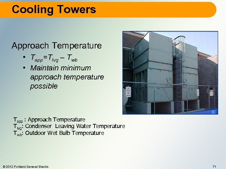 Cooling Towers Approach Temperature • Tapp=Tlvg – Twb • Maintain minimum approach temperature possible