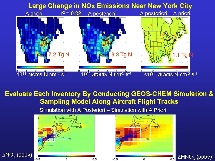 Large Change in NOx Emissions Near New York City A priori r 2 =