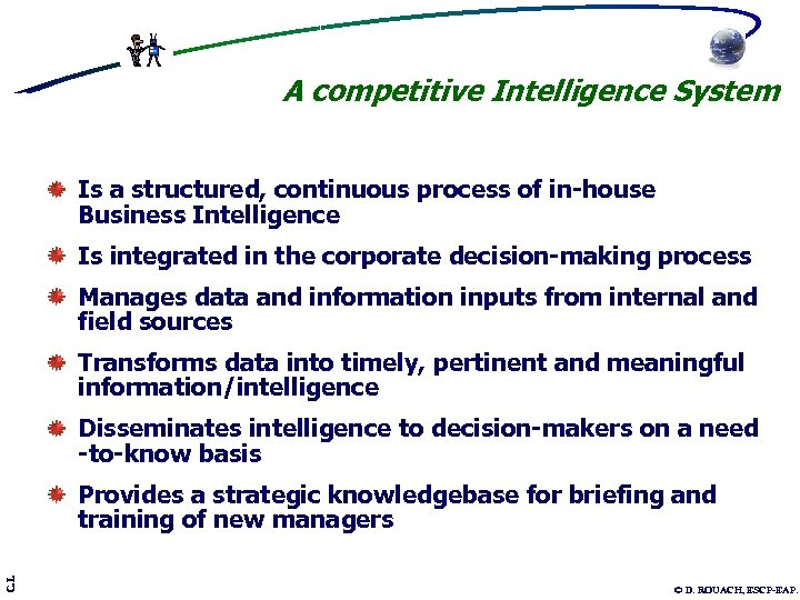 A competitive Intelligence System Is a structured, continuous process of in-house Business Intelligence Is