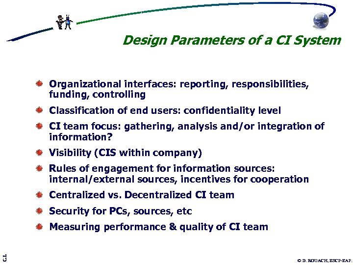 Design Parameters of a CI System Organizational interfaces: reporting, responsibilities, funding, controlling Classification of