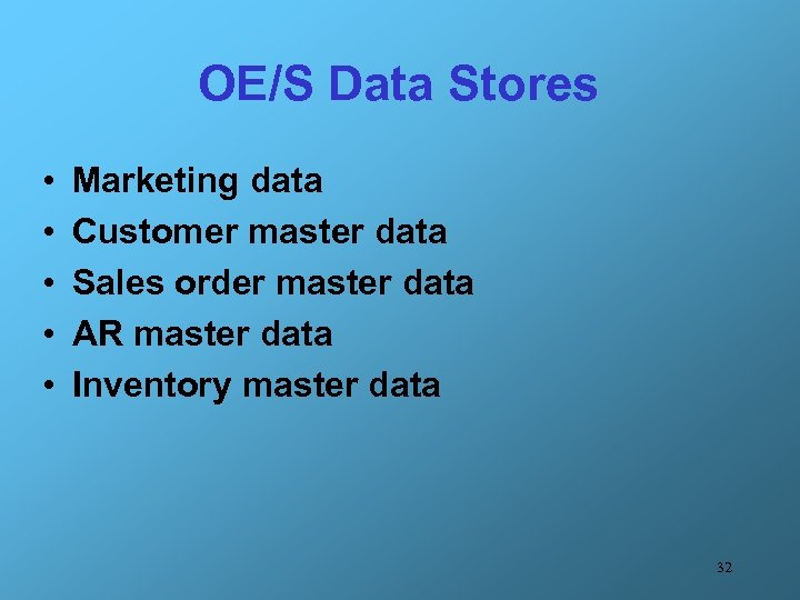 OE/S Data Stores • • • Marketing data Customer master data Sales order master
