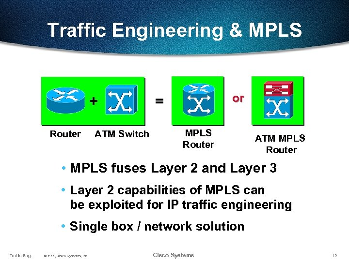 Traffic Engineering & MPLS + Router ATM Switch or = MPLS Router ATM MPLS