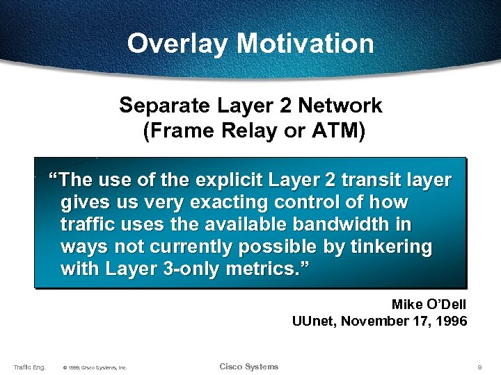 """Overlay Motivation Separate Layer 2 Network (Frame Relay or ATM) """"The use of the"""