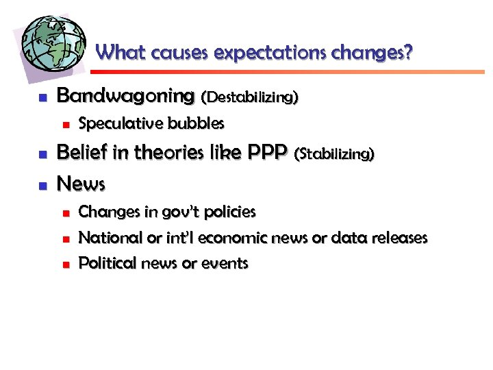 What causes expectations changes? n Bandwagoning (Destabilizing) n n n Speculative bubbles Belief in