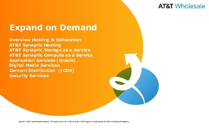 Expand on Demand Overview Hosting & Collocation AT&T Synaptic Hosting AT&T Synaptic Storage as
