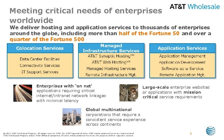 Meeting critical needs of enterprises worldwide We deliver hosting and application services to thousands
