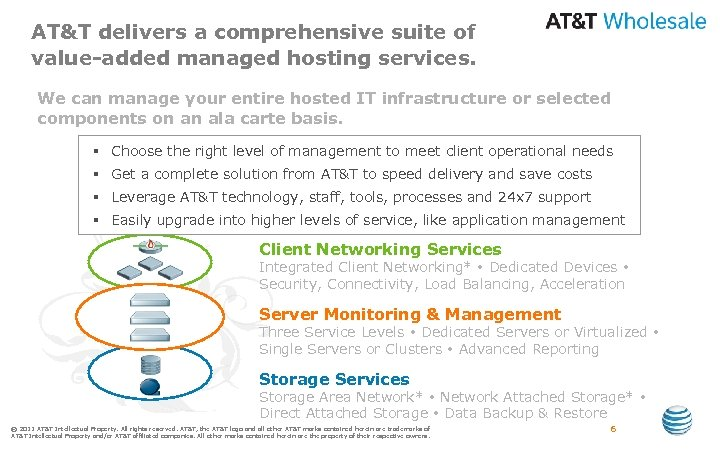 AT&T delivers a comprehensive suite of value-added managed hosting services. We can manage your