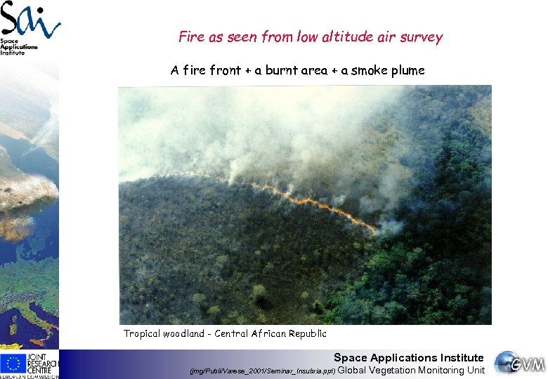 Fire as seen from low altitude air survey A fire front + a burnt
