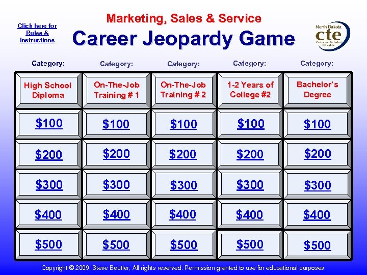 Click here for Rules & Instructions Marketing, Sales & Service Career Jeopardy Game Category: