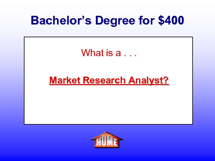 Bachelor's Degree for $400 What is a. . . Market Research Analyst?