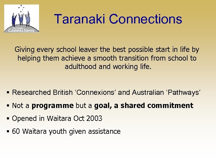 Taranaki Connections Giving every school leaver the best possible start in life by helping