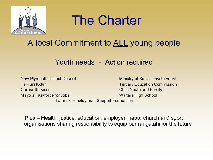 The Charter A local Commitment to ALL young people Youth needs - Action required
