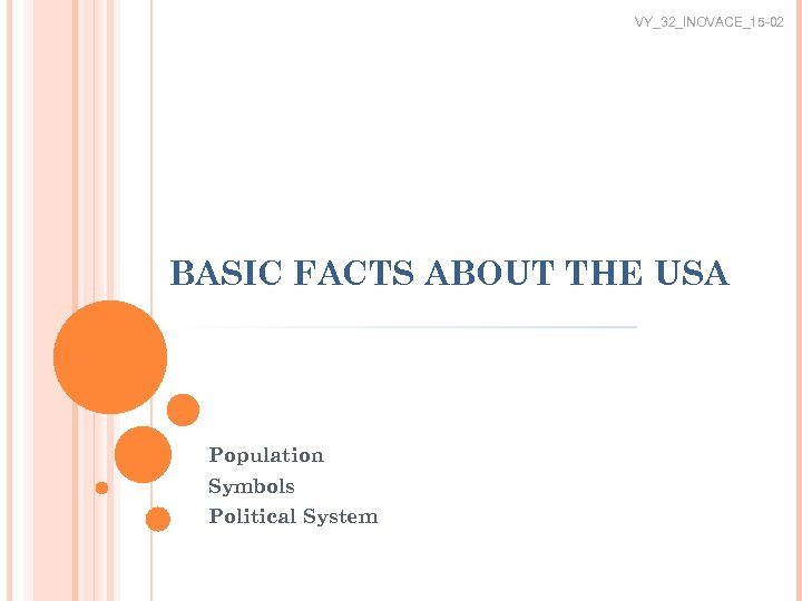 VY_32_INOVACE_15 -02 BASIC FACTS ABOUT THE USA Population Symbols Political System