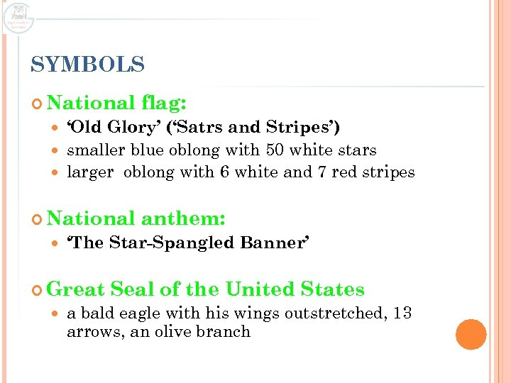 SYMBOLS National flag: 'Old Glory' ('Satrs and Stripes') smaller blue oblong with 50 white