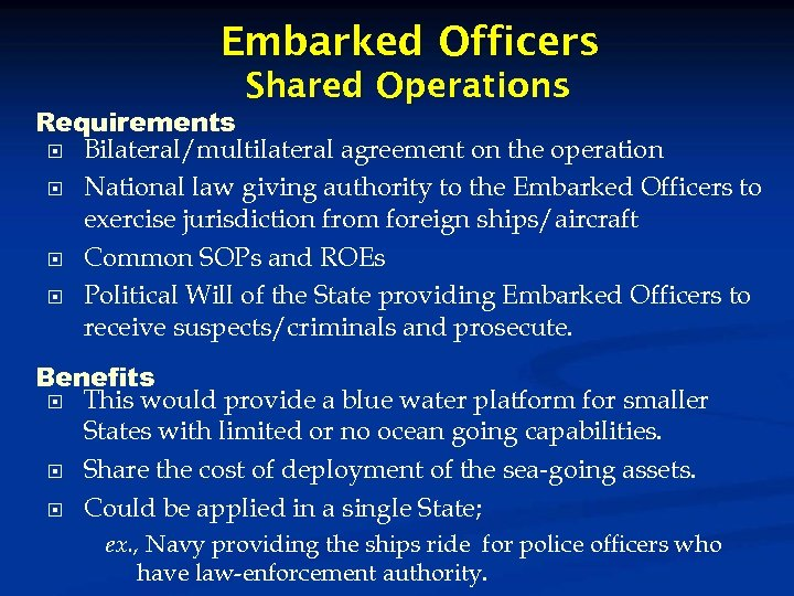 Embarked Officers Shared Operations Requirements Bilateral/multilateral agreement on the operation National law giving authority