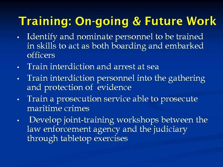 Training: On-going & Future Work • • • Identify and nominate personnel to be