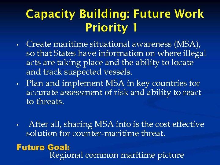 Capacity Building: Future Work Priority 1 • • • Create maritime situational awareness (MSA),