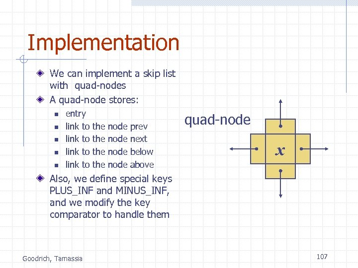 Implementation We can implement a skip list with quad-nodes A quad-node stores: n n