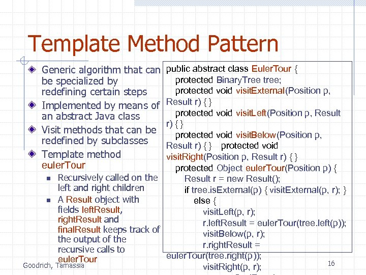Template Method Pattern Generic algorithm that can be specialized by redefining certain steps Implemented