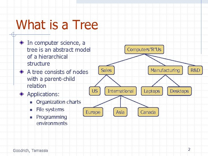 What is a Tree In computer science, a tree is an abstract model of