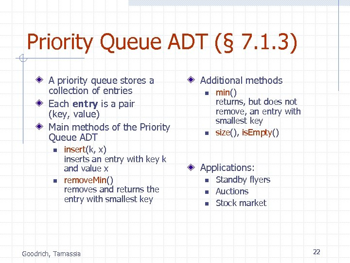 Priority Queue ADT (§ 7. 1. 3) A priority queue stores a collection of