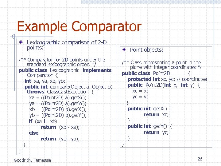 Example Comparator Lexicographic comparison of 2 -D points: /** Comparator for 2 D points