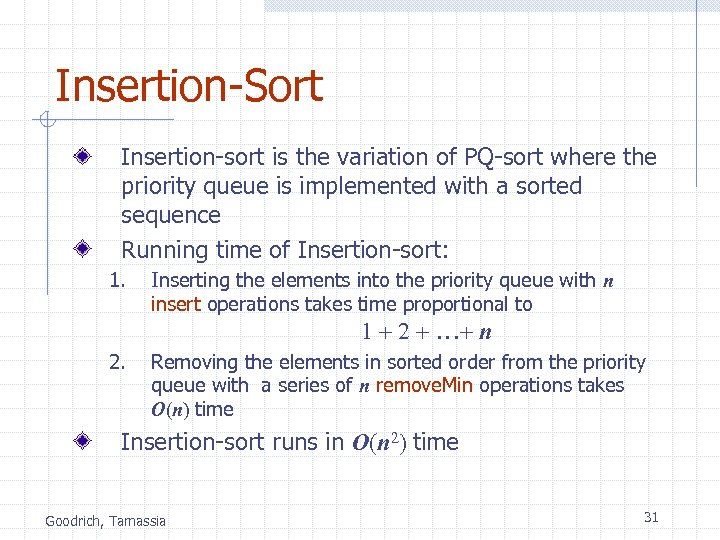 Insertion-Sort Insertion-sort is the variation of PQ-sort where the priority queue is implemented with
