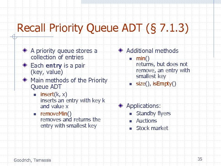 Recall Priority Queue ADT (§ 7. 1. 3) A priority queue stores a collection
