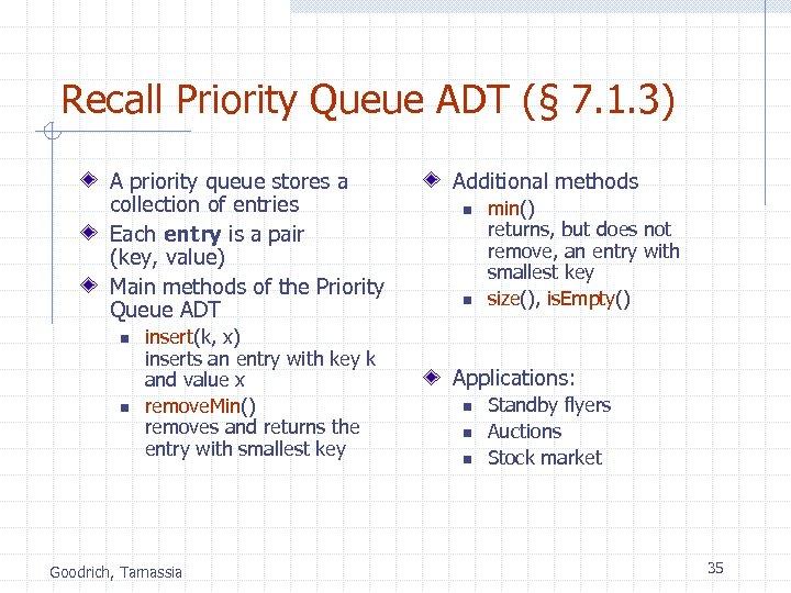 Recall Priority Queue ADT (§ 7. 1. 3) A priority queue stores a collection