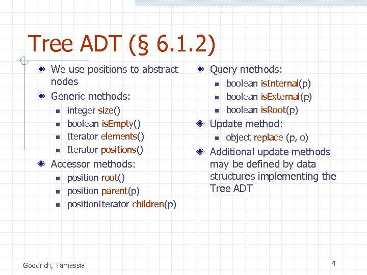 Tree ADT (§ 6. 1. 2) We use positions to abstract nodes Generic methods: